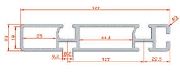 نقشه پروفیل آلومینیوم شیاردار مهندسی 23x127