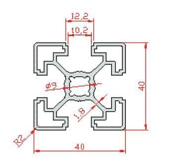 نقشه پروفیل آلومینیوم شیاردار مهندسی 40x40